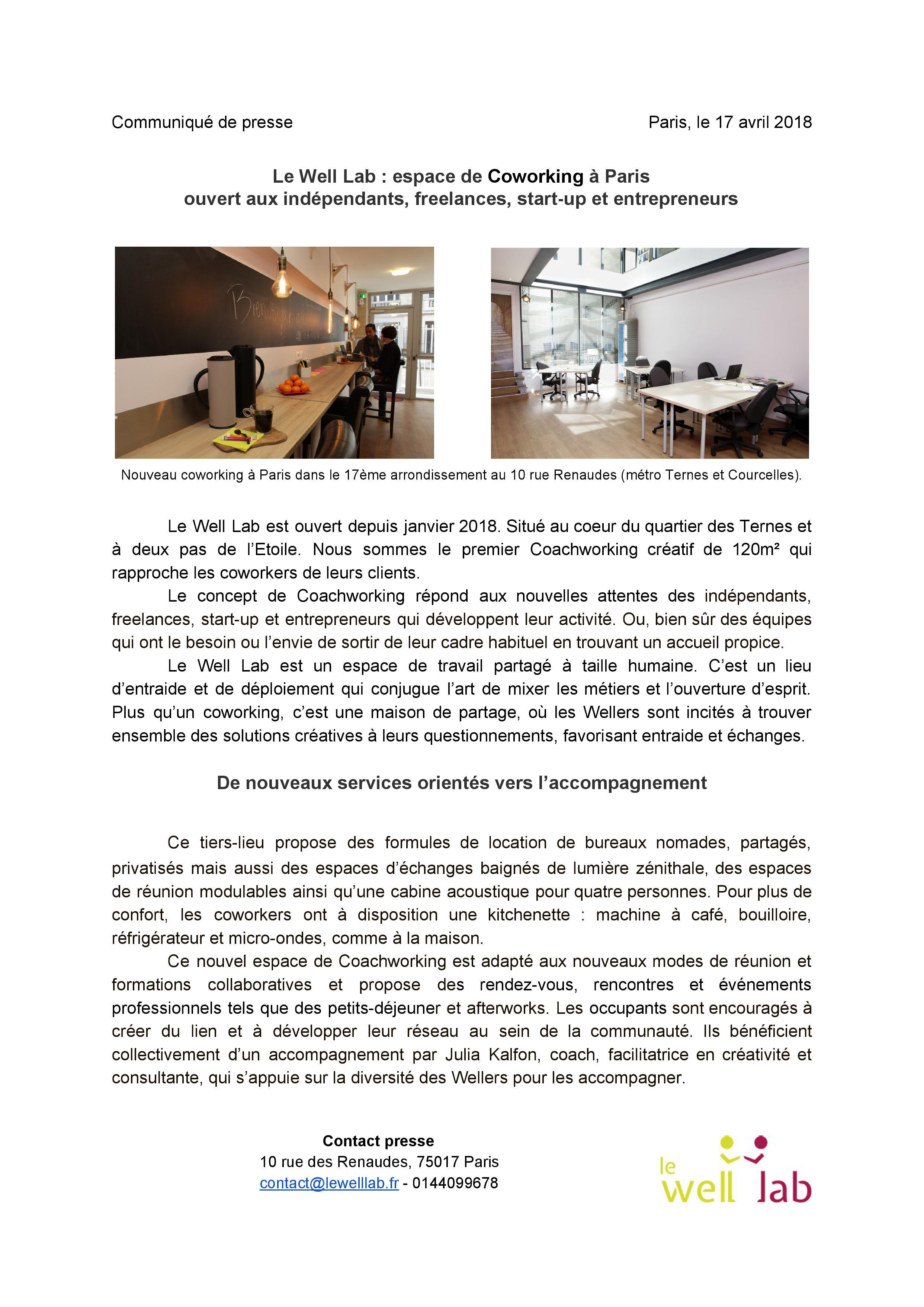 LeWellLab-Communiqué de presse-Paris, le 17 avril 2018